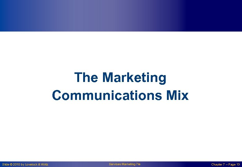 The Marketing Communications Mix Slide © 2010 by Lovelock & Wirtz Services Marketing 7/e