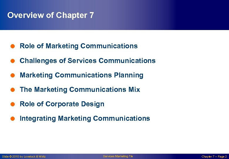 Overview of Chapter 7 = Role of Marketing Communications = Challenges of Services Communications