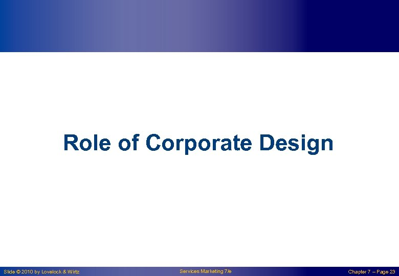 Role of Corporate Design Slide © 2010 by Lovelock & Wirtz Services Marketing 7/e