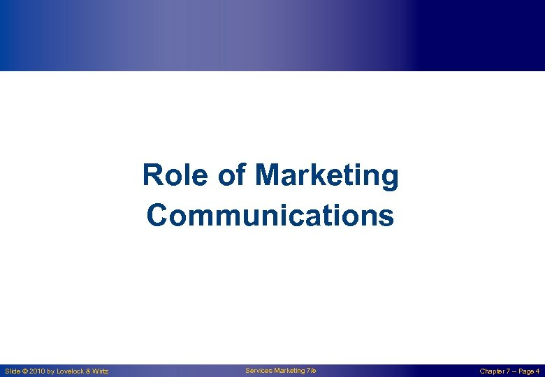 Role of Marketing Communications Slide © 2010 by Lovelock & Wirtz Services Marketing 7/e