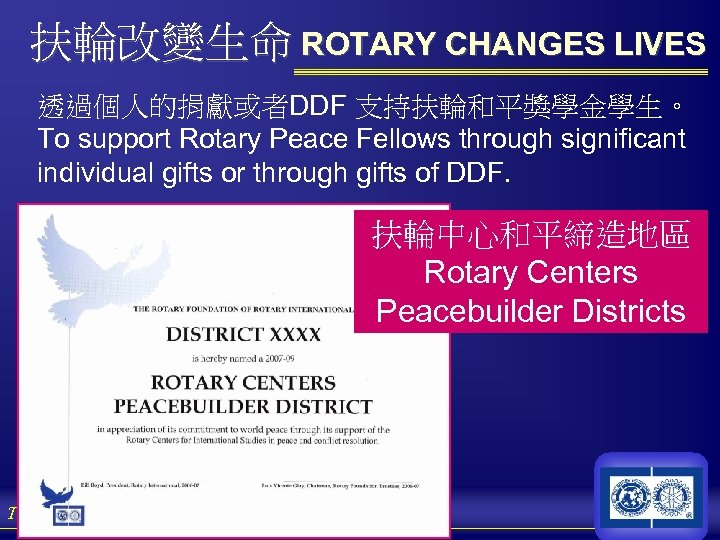 扶輪改變生命 ROTARY CHANGES LIVES 透過個人的捐獻或者DDF 支持扶輪和平獎學金學生。 To support Rotary Peace Fellows through significant individual