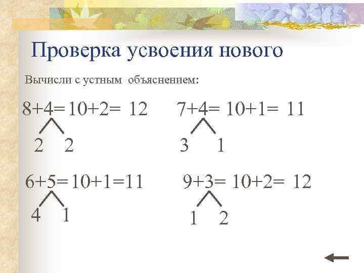 Проверка усвоения нового Вычисли с устным объяснением: 8+4= 10+2= 12 2 2 7+4= 10+1=