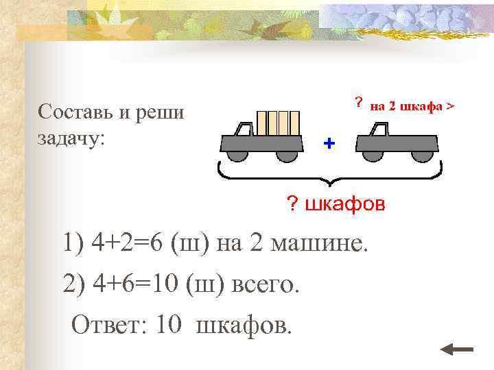 Составь и реши задачу: 1) 4+2=6 (ш) на 2 машине. 2) 4+6=10 (ш) всего.