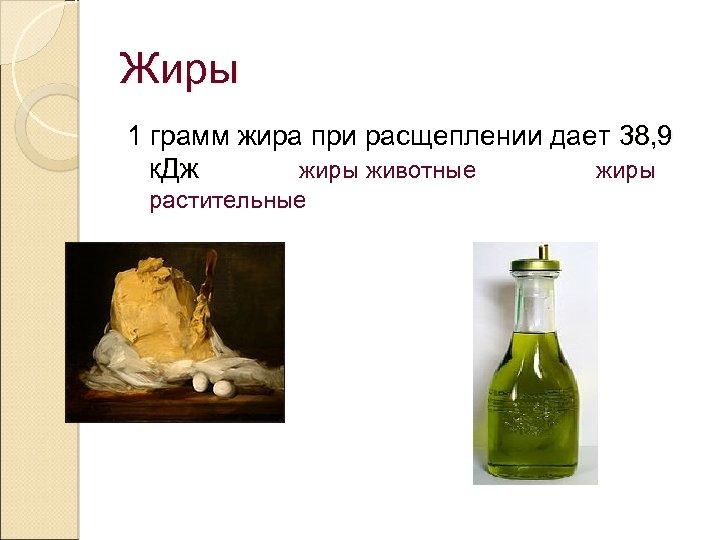 Жиры 1 грамм жира при расщеплении дает 38, 9 к. Дж жиры животные жиры