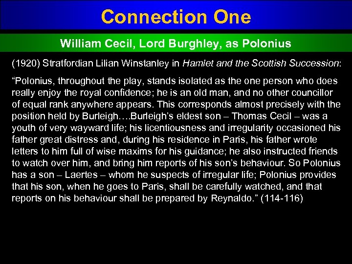 Connection One William Cecil, Lord Burghley, as Polonius (1920) Stratfordian Lilian Winstanley in Hamlet