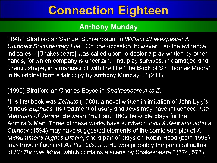 Connection Eighteen Anthony Munday (1987) Stratfordian Samuel Schoenbaum in William Shakespeare: A Compact Documentary