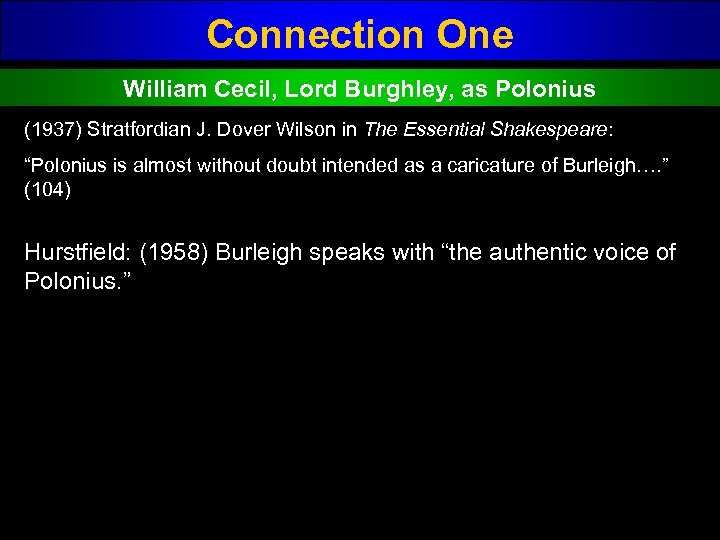 Connection One William Cecil, Lord Burghley, as Polonius (1937) Stratfordian J. Dover Wilson in