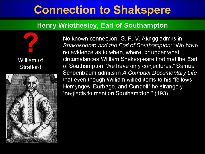 Connection to Shakspere Henry Wriothesley, Earl of Southampton ? William of Stratford No known