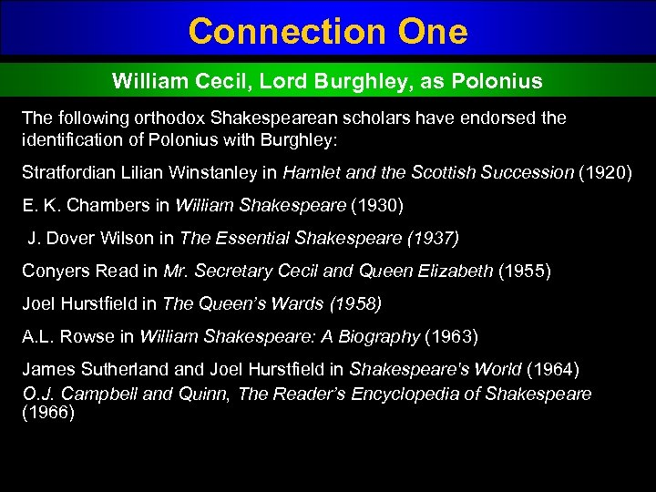 Connection One William Cecil, Lord Burghley, as Polonius The following orthodox Shakespearean scholars have