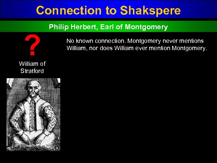 Connection to Shakspere ? William of Stratford Philip Herbert, Earl of Montgomery No known