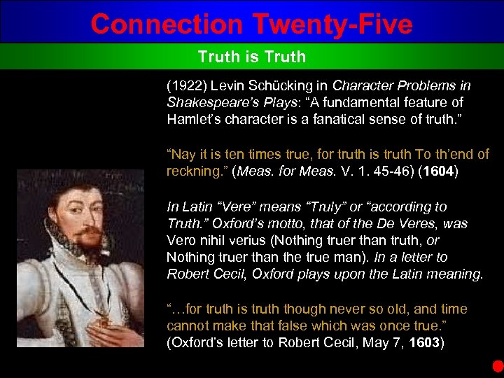 Connection Twenty-Five Truth is Truth (1922) Levin Schücking in Character Problems in Shakespeare's Plays: