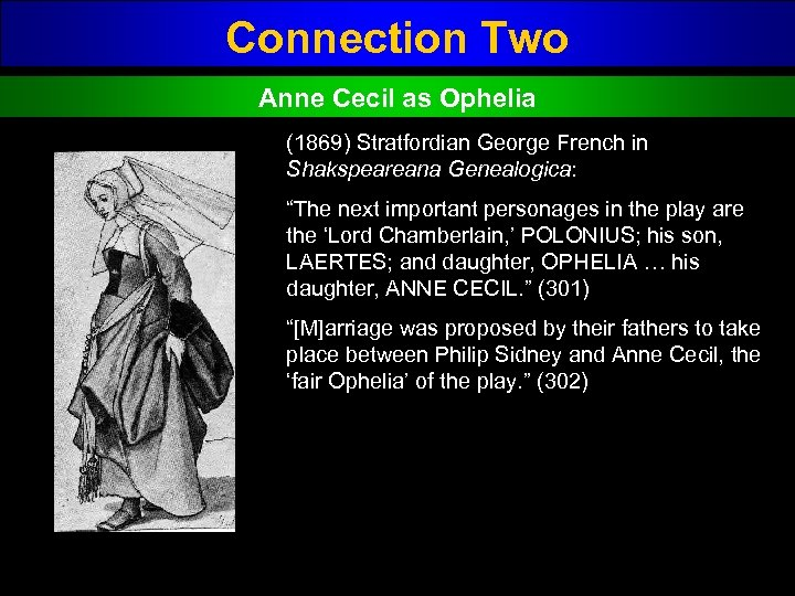 "Connection Two Anne Cecil as Ophelia (1869) Stratfordian George French in Shakspeareana Genealogica: ""The"