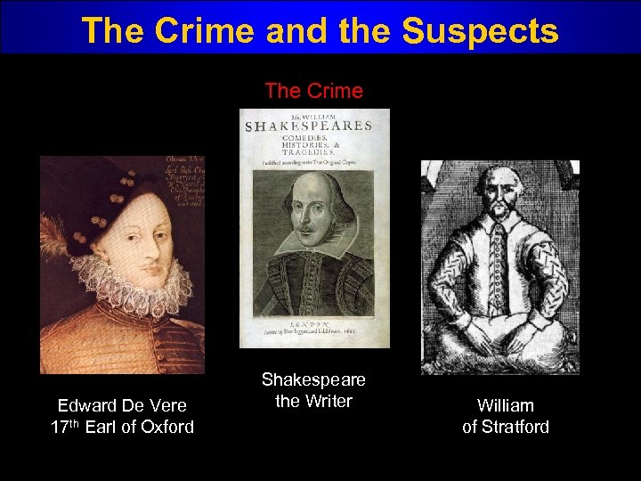 The Crime and the Suspects The Crime Edward De Vere 17 th Earl of