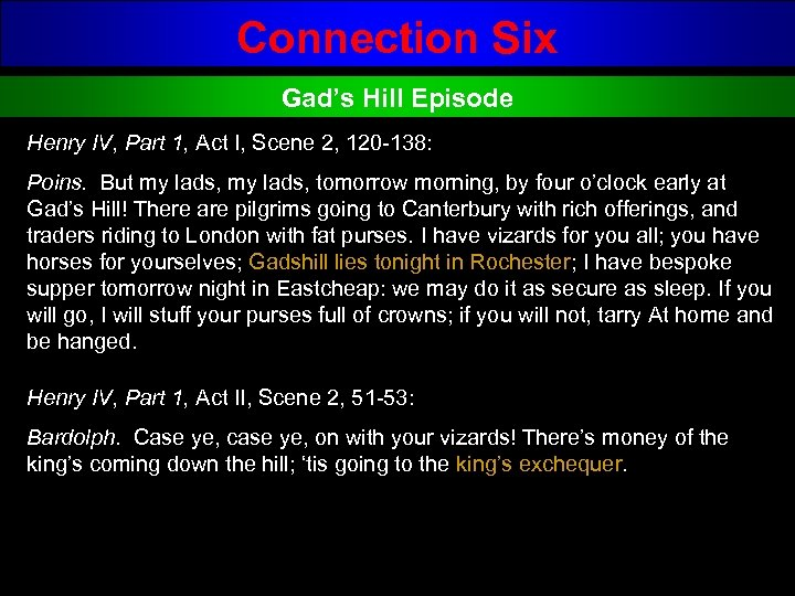 Connection Six Gad's Hill Episode Henry IV, Part 1, Act I, Scene 2, 120