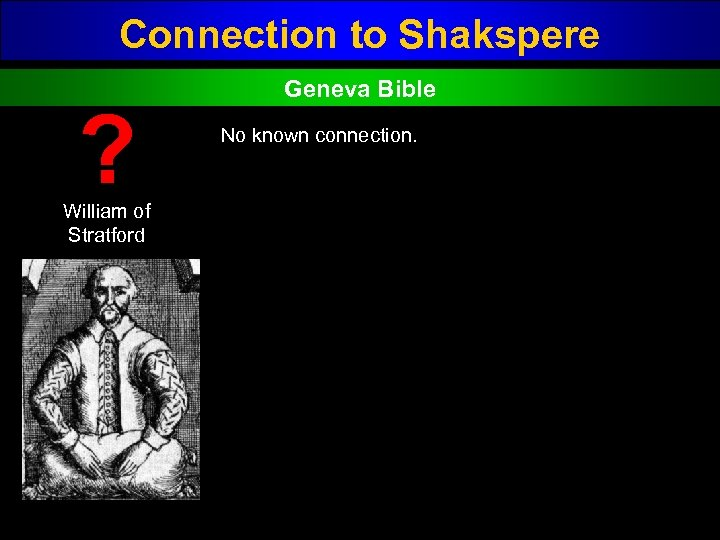 Connection to Shakspere ? William of Stratford Geneva Bible No known connection.