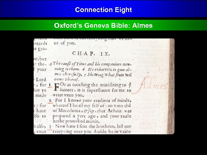 Connection Eight Oxford's Geneva Bible: Almes