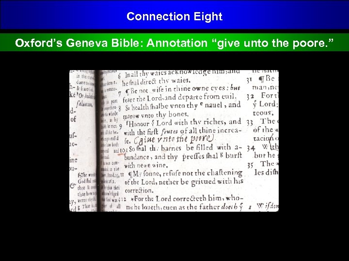"Connection Eight Oxford's Geneva Bible: Annotation ""give unto the poore. """