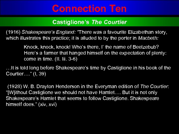 "Connection Ten Castiglione's The Courtier (1916) Shakespeare's England: ""There was a favourite Elizabethan story,"