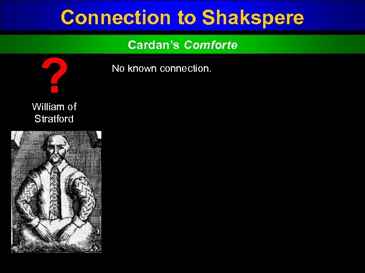 Connection to Shakspere ? William of Stratford Cardan's Comforte No known connection.