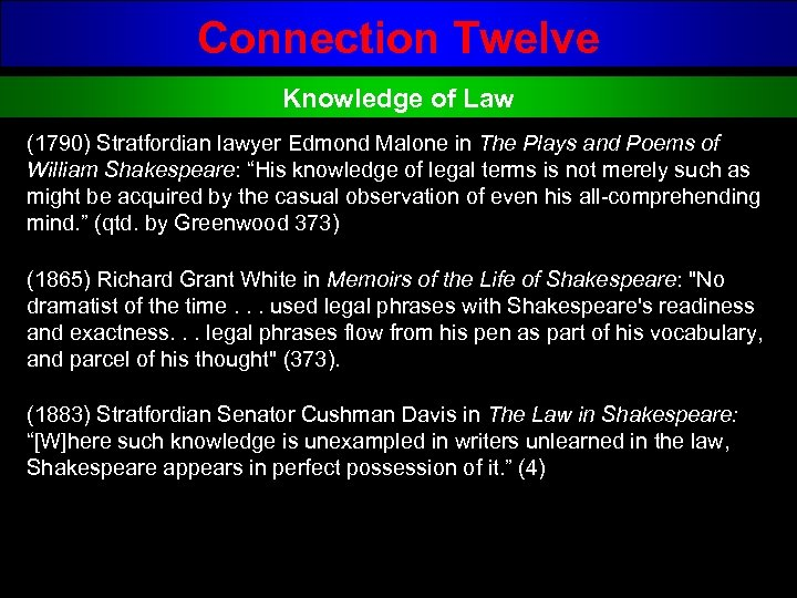 Connection Twelve Knowledge of Law (1790) Stratfordian lawyer Edmond Malone in The Plays and