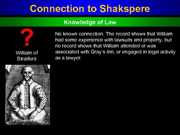 Connection to Shakspere ? William of Stratford Knowledge of Law No known connection. The