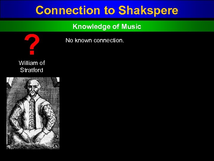 Connection to Shakspere ? William of Stratford Knowledge of Music No known connection.