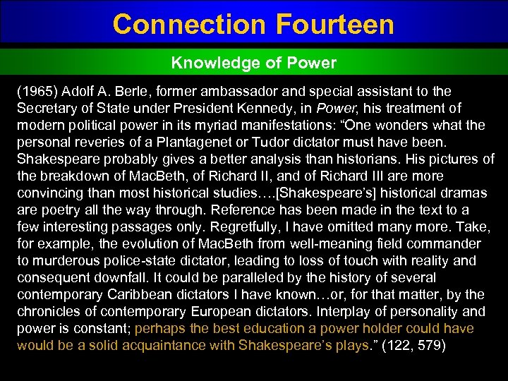 Connection Fourteen Knowledge of Power (1965) Adolf A. Berle, former ambassador and special assistant