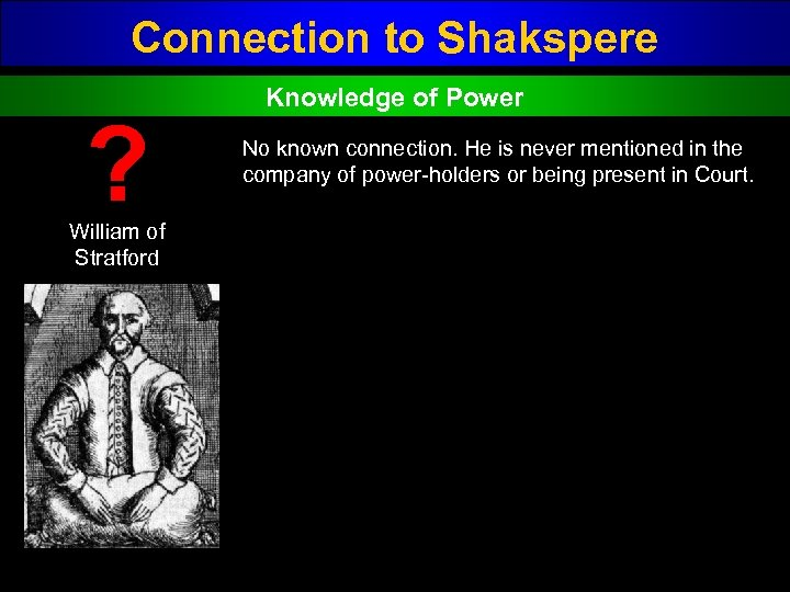 Connection to Shakspere ? William of Stratford Knowledge of Power No known connection. He