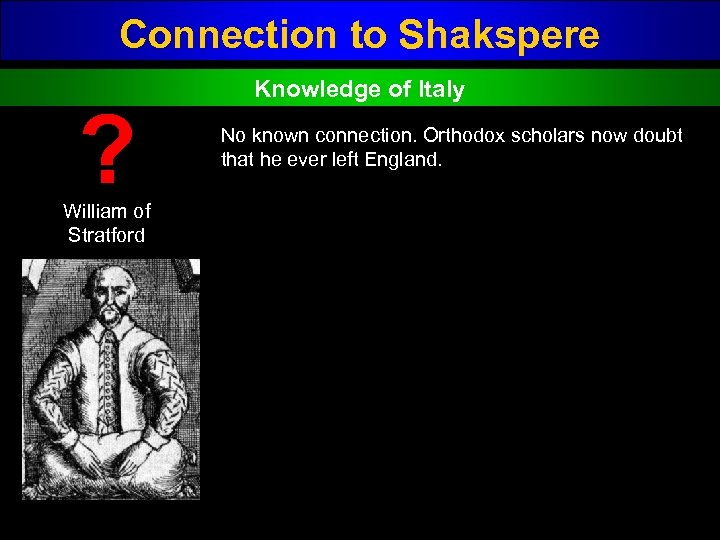 Connection to Shakspere ? William of Stratford Knowledge of Italy No known connection. Orthodox