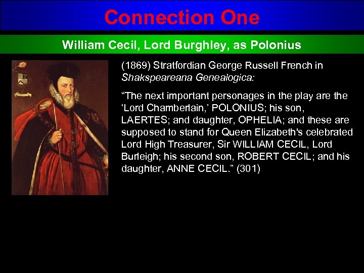 Connection One William Cecil, Lord Burghley, as Polonius (1869) Stratfordian George Russell French in