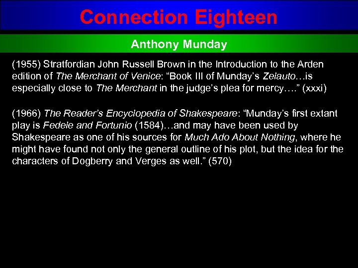 Connection Eighteen Anthony Munday (1955) Stratfordian John Russell Brown in the Introduction to the