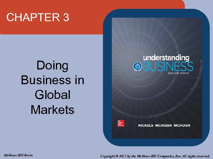 CHAPTER 3 Doing Business in Global Markets Mc. Graw-Hill/Irwin Copyright © 2015 by the