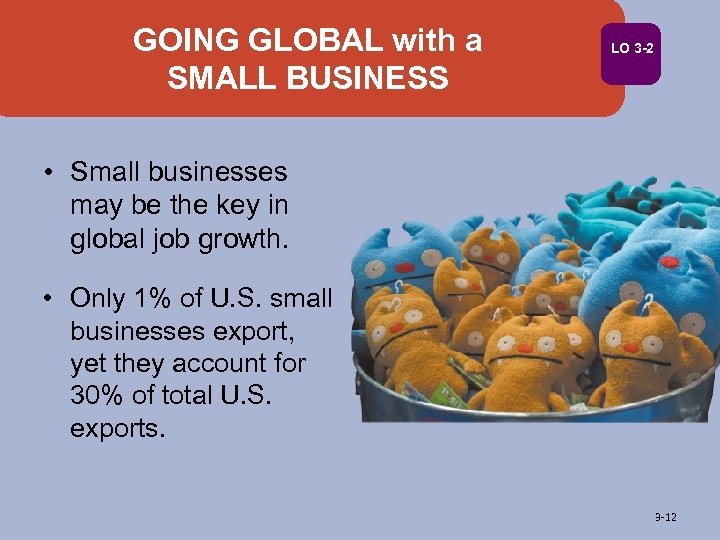 GOING GLOBAL with a SMALL BUSINESS LO 3 -2 • Small businesses may be