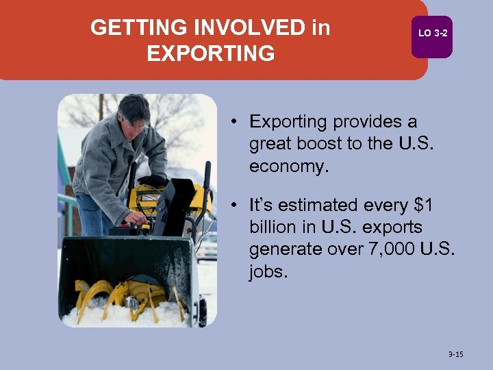 GETTING INVOLVED in EXPORTING LO 3 -2 • Exporting provides a great boost to