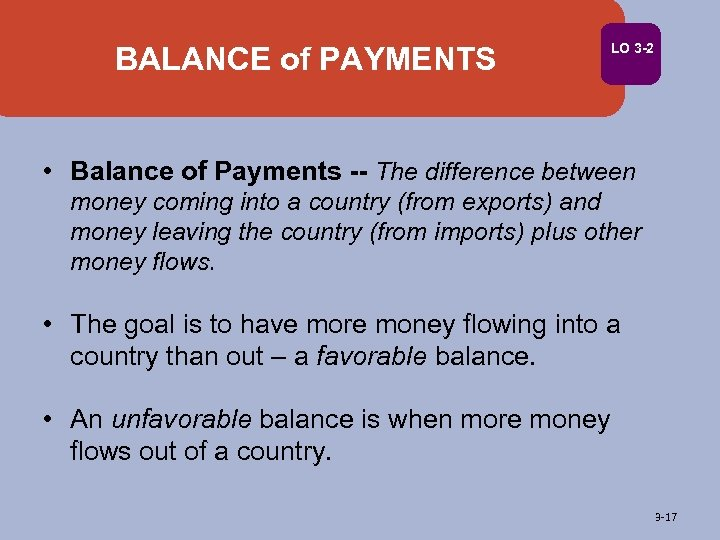 BALANCE of PAYMENTS LO 3 -2 • Balance of Payments -- The difference between