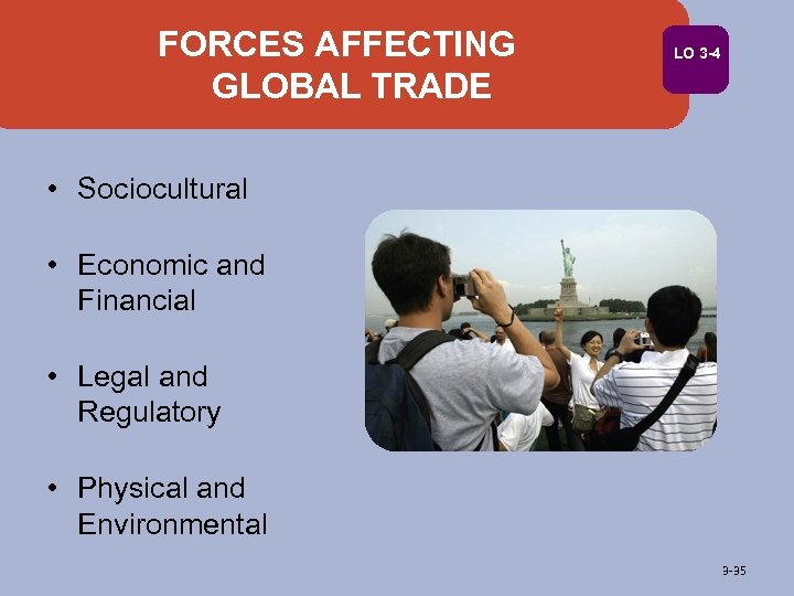 FORCES AFFECTING GLOBAL TRADE LO 3 -4 • Sociocultural • Economic and Financial •