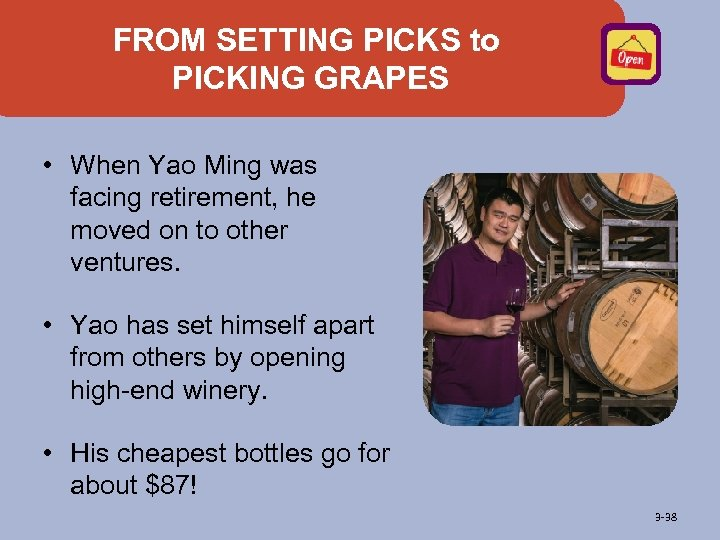 FROM SETTING PICKS to PICKING GRAPES • When Yao Ming was facing retirement, he