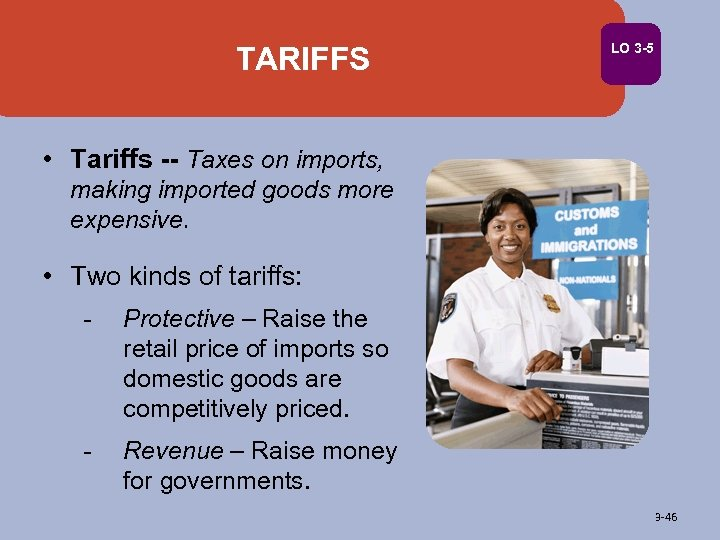TARIFFS LO 3 -5 • Tariffs -- Taxes on imports, making imported goods more
