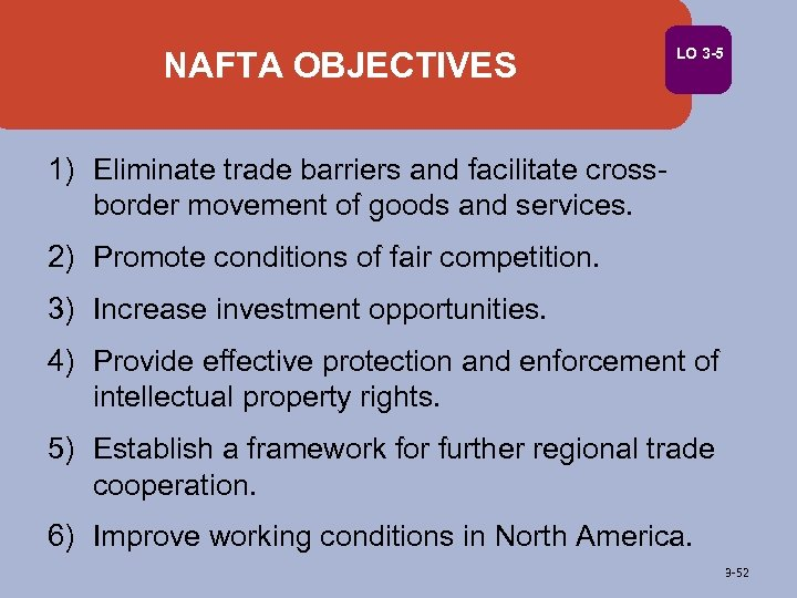 NAFTA OBJECTIVES LO 3 -5 1) Eliminate trade barriers and facilitate crossborder movement of