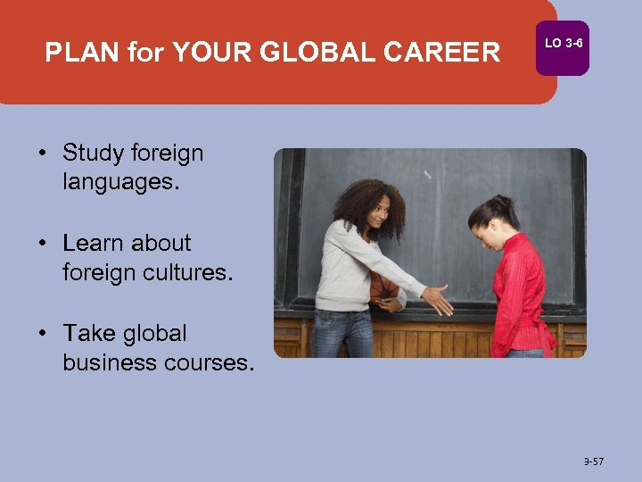 PLAN for YOUR GLOBAL CAREER LO 3 -6 • Study foreign languages. • Learn