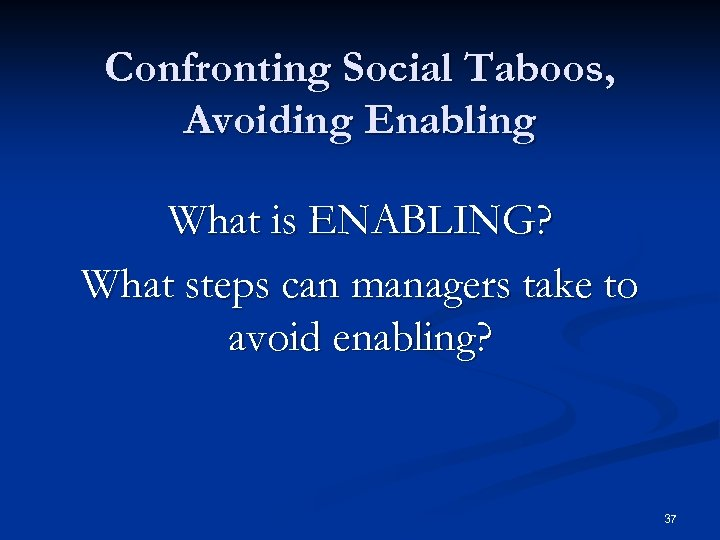 Confronting Social Taboos, Avoiding Enabling What is ENABLING? What steps can managers take to
