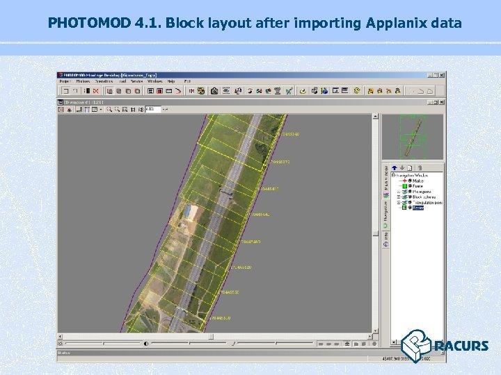 PHOTOMOD 4. 1. Block layout after importing Applanix data
