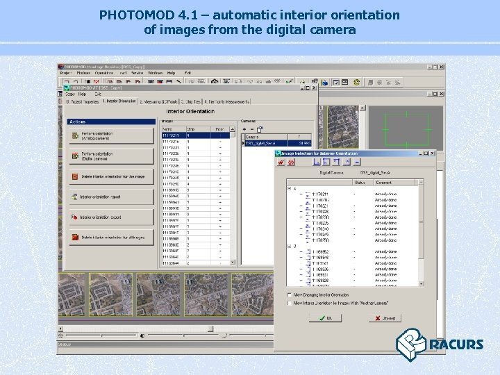 PHOTOMOD 4. 1 – automatic interior orientation of images from the digital camera