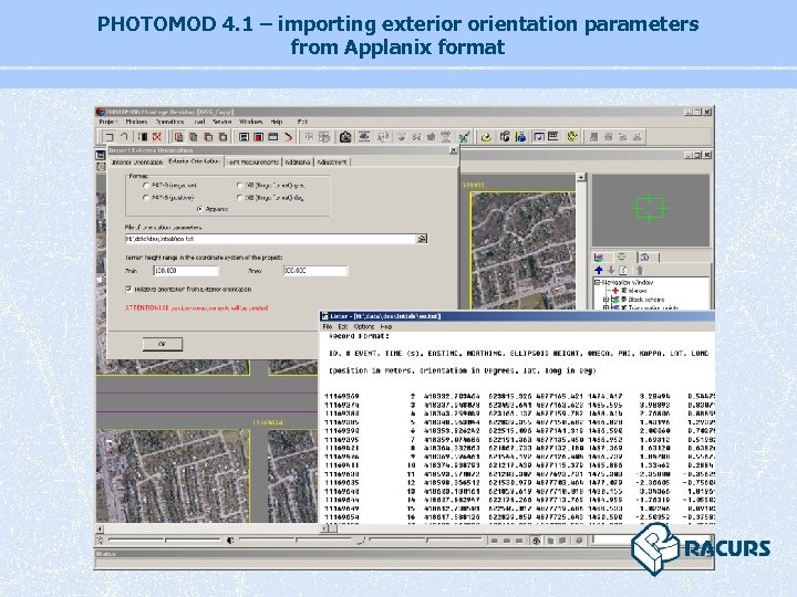 PHOTOMOD 4. 1 – importing exterior orientation parameters from Applanix format