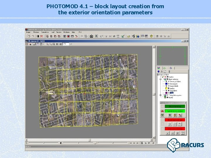 PHOTOMOD 4. 1 – block layout creation from the exterior orientation parameters