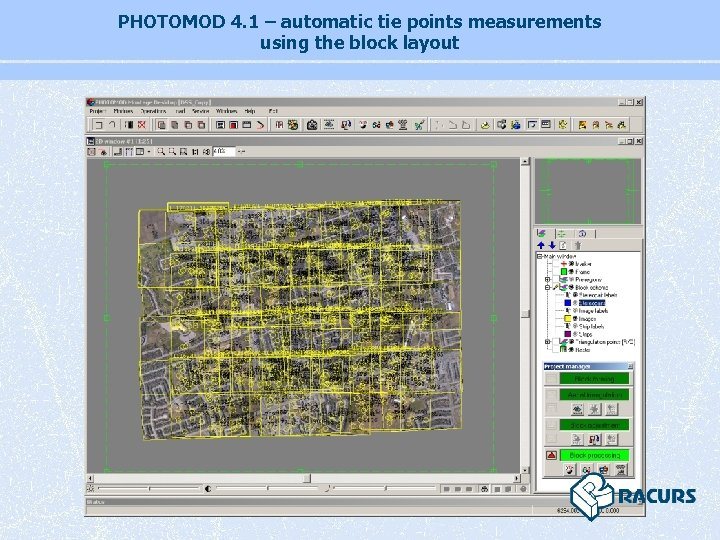 PHOTOMOD 4. 1 – automatic tie points measurements using the block layout