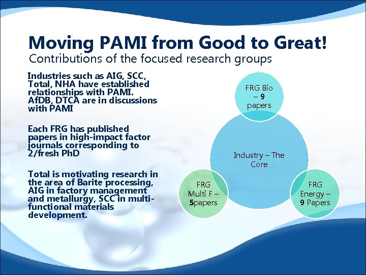 Moving PAMI from Good to Great! Contributions of the focused research groups Industries such