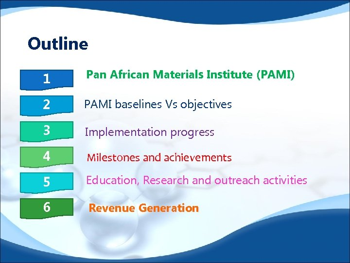 Outline 1 Pan African Materials Institute (PAMI) 2 PAMI baselines Vs objectives 3 Implementation