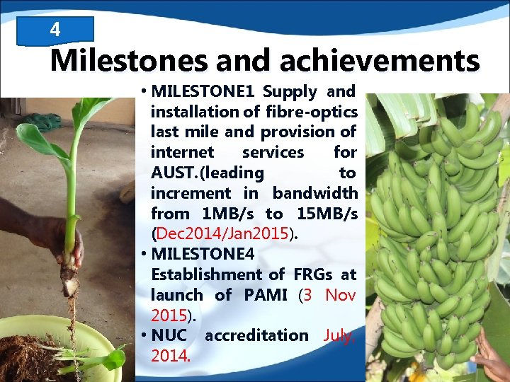 4 Milestones and achievements • MILESTONE 1 Supply and installation of fibre-optics last mile