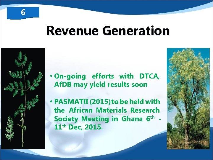 6 Revenue Generation • On-going efforts with DTCA, Af. DB may yield results soon